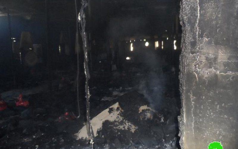 إحراق مزرعة للدواجن في قرية مادما / محافظة نابلس