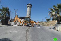 قوات الاحتلال توسع محيط البرج العسكري على مدخل بلدة بيت أمر / محافظة الخليل