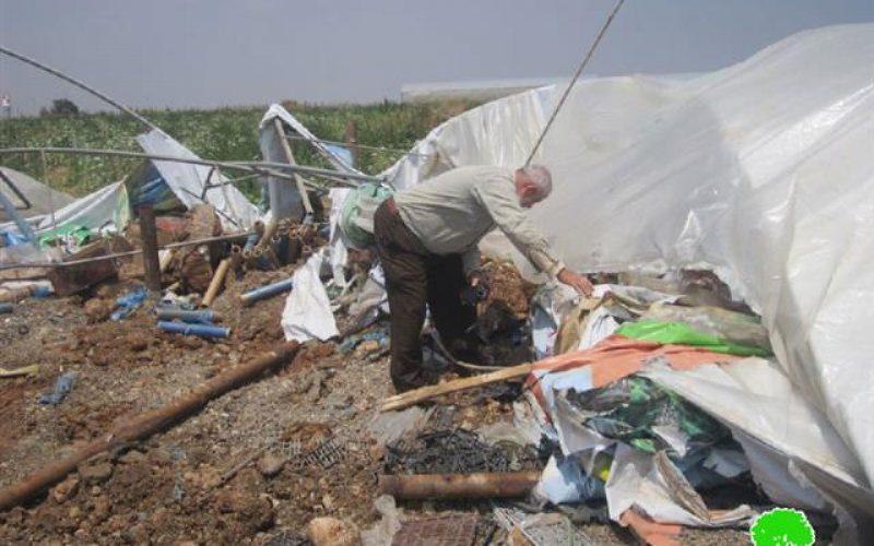 The Israeli occupation destroys stalls in the Jordan Valley