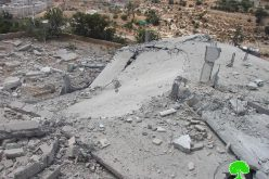 The Israeli occupation blows up two houses and seals off another house with concrete