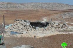 هدم  4 غرف سكنية في خربة الطويل / محافظة نابلس