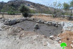 The occupation demolishes a cistern in Ein Irkeih