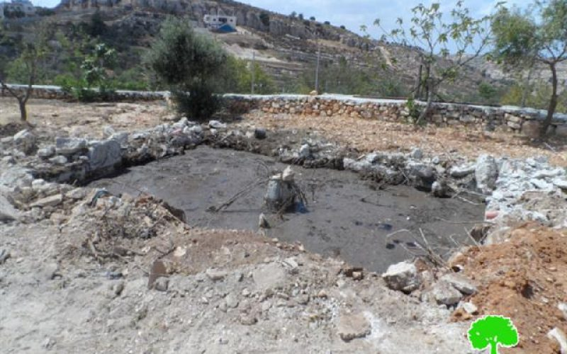 The occupation demolishes a cistern in Ein Irkeih