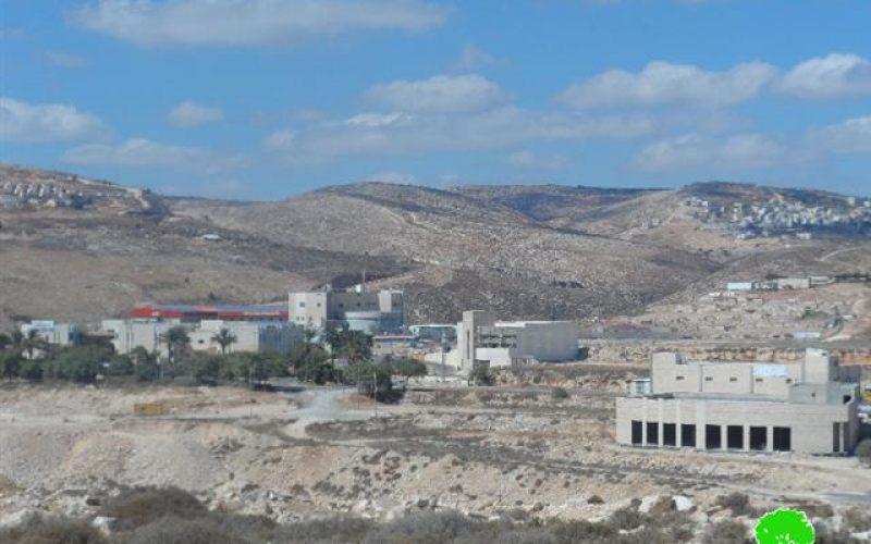"""المنطقة الصناعية الاستعمارية """" بنيامين"""" مصدر لتلوث البيئة الفلسطينية"""