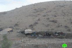 هدم عدداً من المنشآت الزراعية والسكنية في تجمع الرماضين الشمالي / محافظة قلقيلية