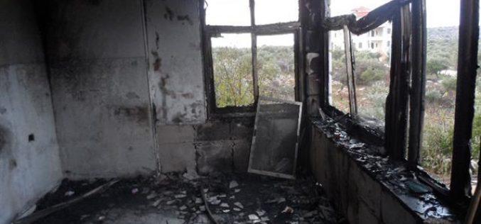 هل يجدون رادع حقيقي يمنعهم من تمادي هذه الاعتداءات؟؟ <br> مستعمرون يحرقون منزلاً في قرية أبو فلاح / محافظة رام الله