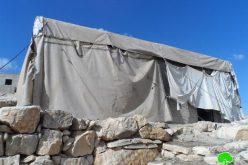إخطار بوقف العمل في مسكن بخربة المفقرة شرق يطا