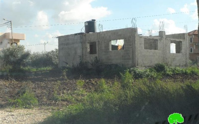 A stop-work order on a workshop and a residence in Tulkarm