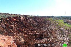 هدم جدران  استنادية في قرية قصرة / محافظة نابلس