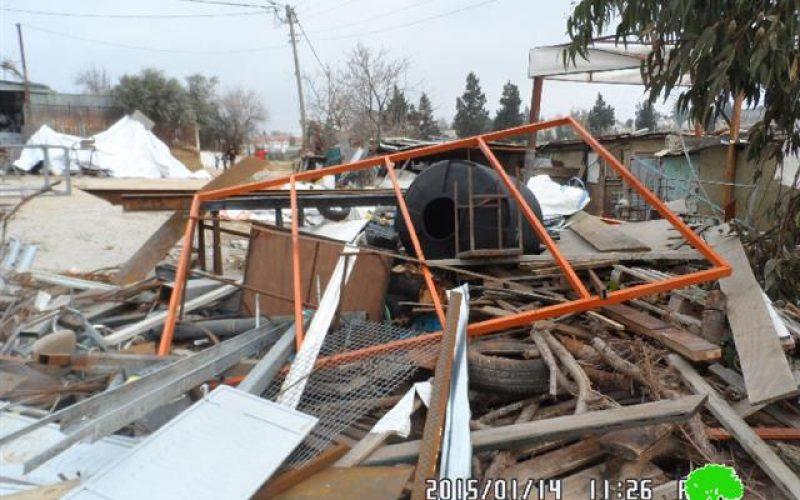 The Israeli occupation demolish a smithy in al-Bireh city