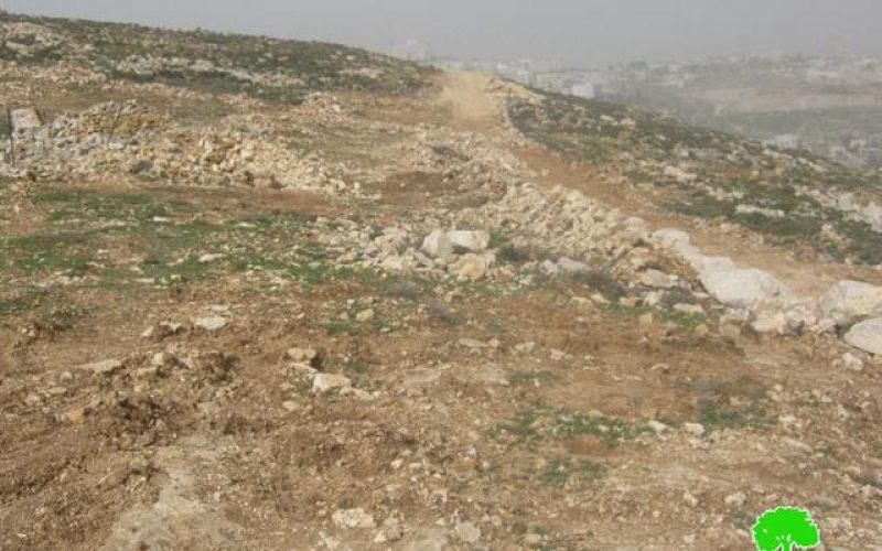 تجريف 30 دونماً مستصلحاً من الأراضي الزراعية لبلدة واد رحال في واد رحال / محافظة بيت لحم