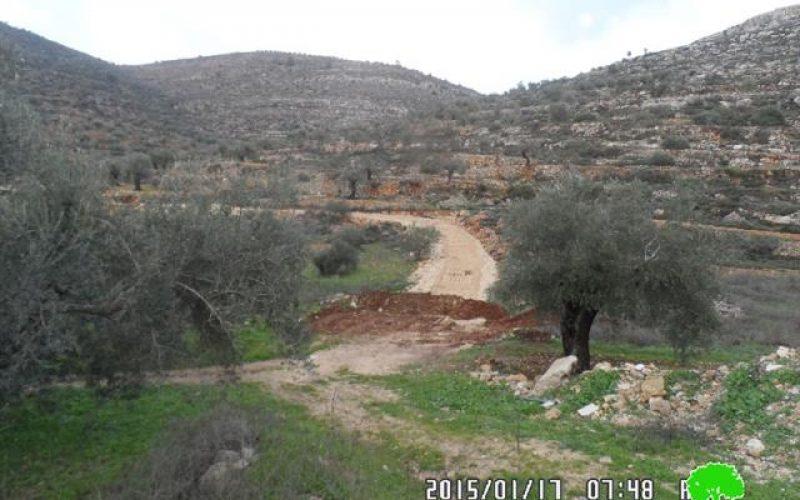 الاحتلال الإسرائيلي يهدم مقطع من طريق زراعي  يربط المزرعة الشرقية بقرية جلجيليا