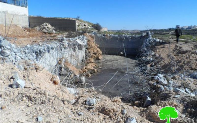 The Israeli occupation demolishes a water cistern in Hebron