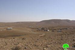 ضمن سياسة التهجير القسري وتفريغ المنطقة من الفلسطينيين; 25 إخطار بوقف العمل في منشآت المواطنين بخربة الدقيقة بمسافر يطا