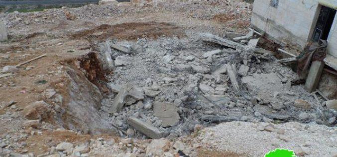هدم مسكناً قيد الإنشاء في العديسة جنوب بلدة سعير / محافظة الخليل