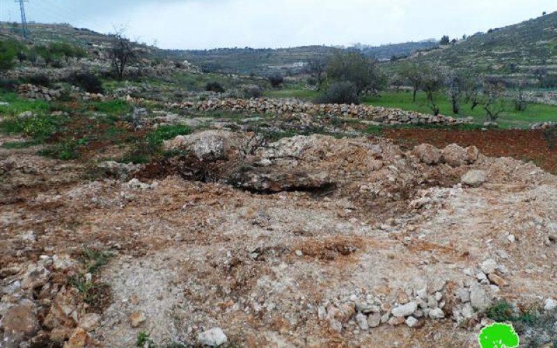 هدم بئر مياه واقتلاع أشتال زيتون في خلة الوردة غرب بني نعيم / محافظة الخليل