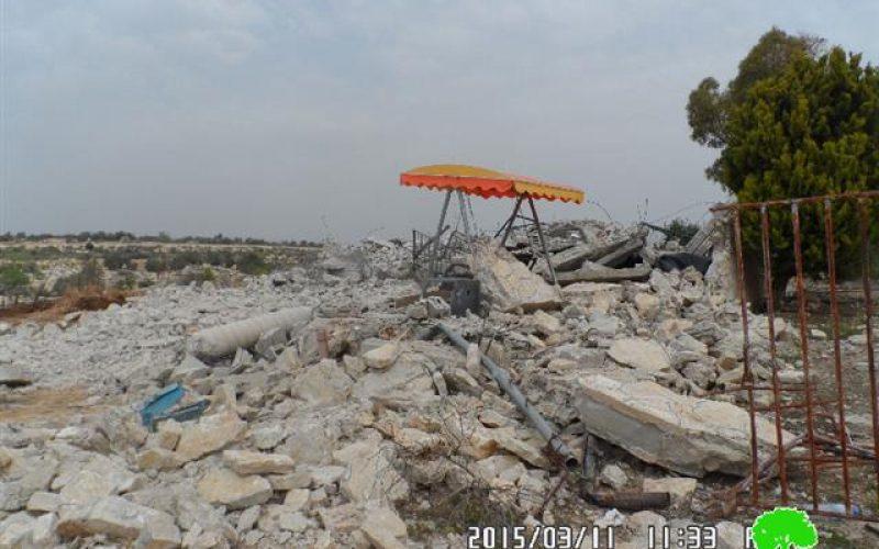 Demolition of a three-story house in the Tulkarm village of al-Jarushiya