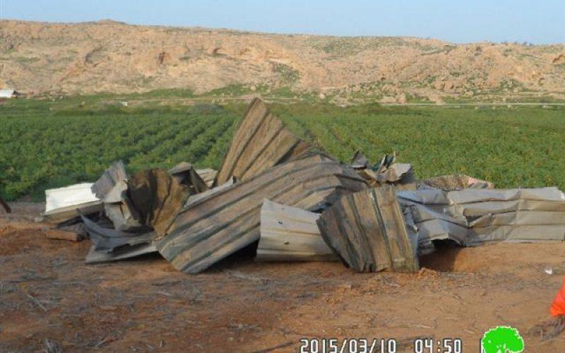 Demolition of six agricultural barracks in the Jericho village of Jiftlik