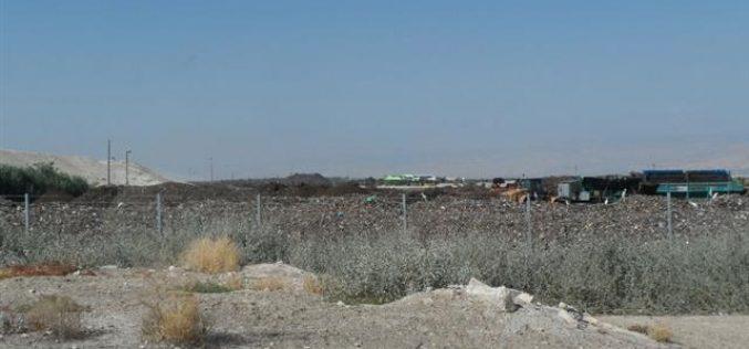 مواصلة استغلال أراضي الأغوار الفلسطينية كمكب للنفايات الإسرائيلية