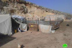 Stop-work orders in Nablus Khirbet of Al-Taweel