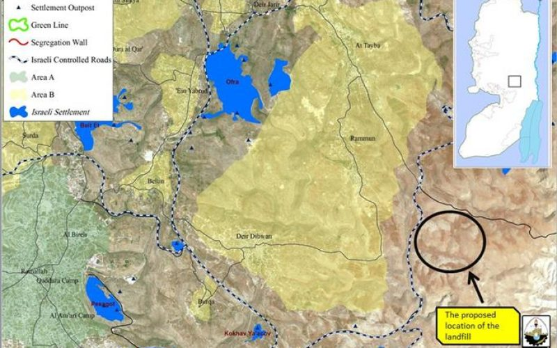 Israeli to confiscate Rammun and Deir Dibwan lands for the establishment of a landfill site