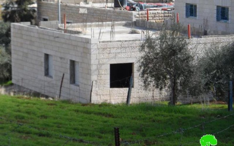 The Israeli occupation demolishes an under construction residence in Bethlehem