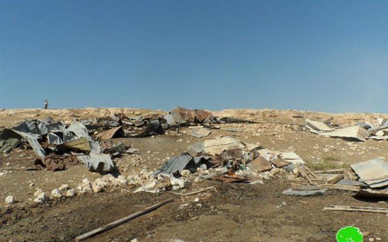 هدم عدد من المساكن والبركسات في تجمعي المعازي والخذاريات في قرية جبع