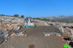 The Israeli occupation demolishes residential and agricultural structures in Ramallah