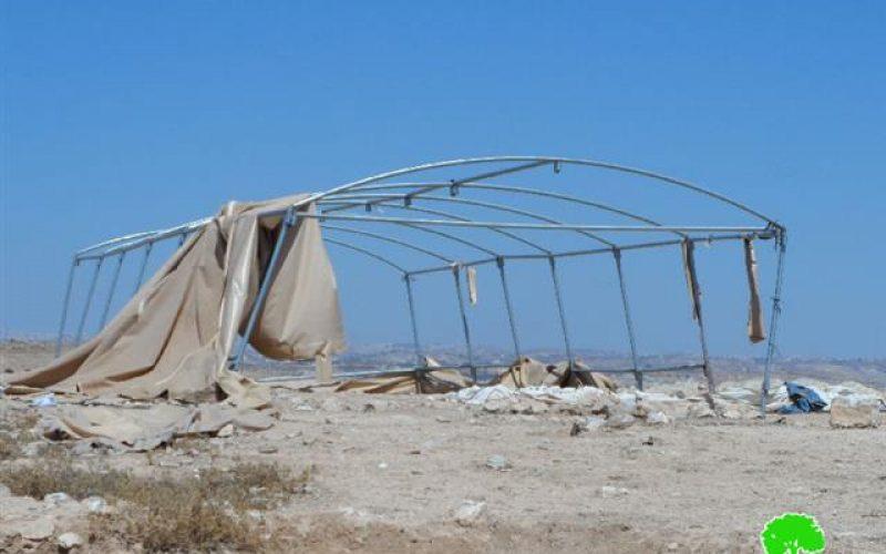 Demolition orders on two tents in Yatta hamlet of Al-Mafqara