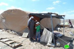 إخطارات بهدم خيمتين في خربة المفقرة شرق بلدة يطا