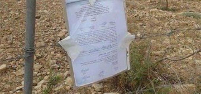 اوامر اسرائيلية لإخلاء اراضي فلسطينية في بلدة قراوة بني حسان في محافظة سلفيت