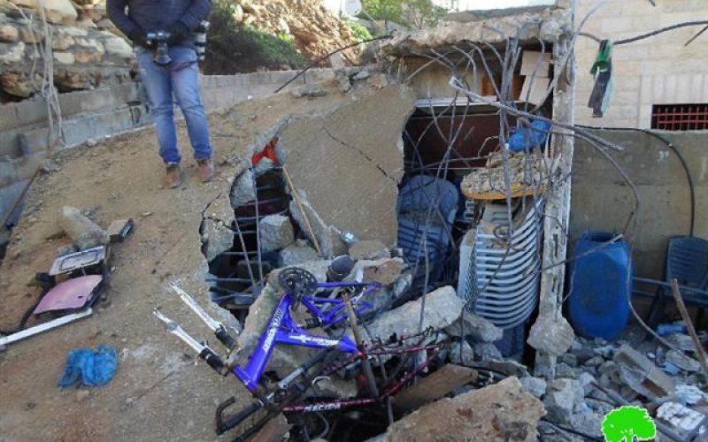 The Israeli occupation army razes house of martyr Muhannad Halabi