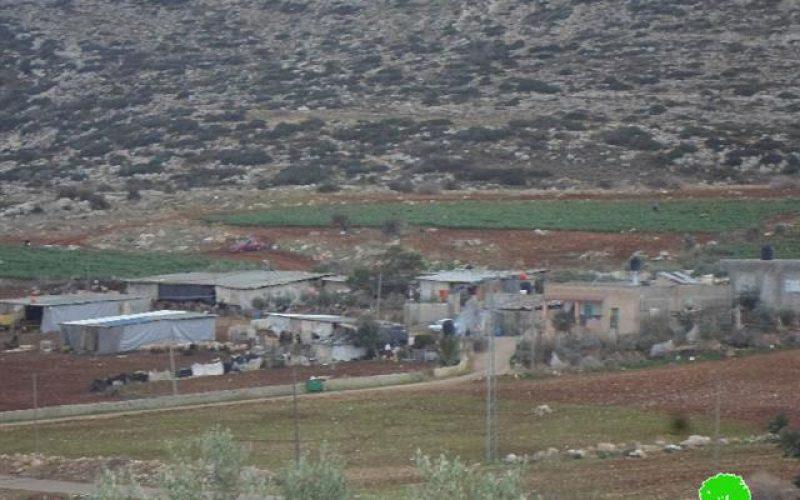 The Israeli Occupation Forces deliver stop-work orders in Nablus hamlet of Al-Marajim