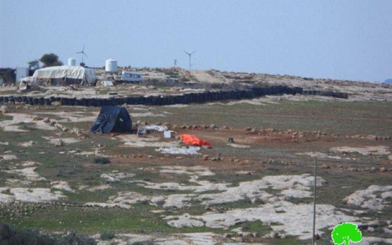 The Israeli Occupation Forces demolish two tents in Susiya hamlet of Hebron