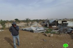 """Even funded and gifted by EU"" <br> The Israeli Occupation Forces demolish residential barracks east Jericho city"