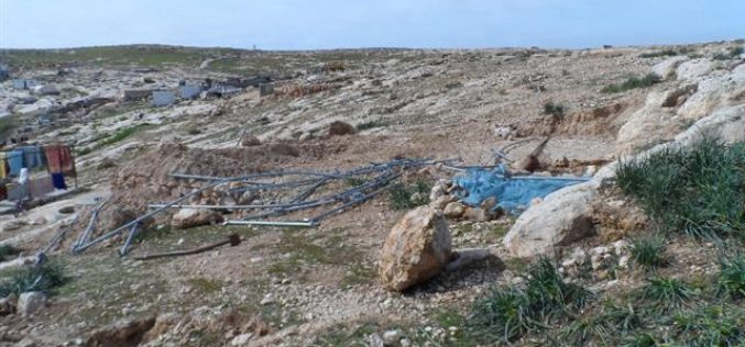 The Israeli Occupation Forces demolish a residential tent in the Hebron town of Yatta