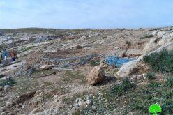 الاحتلال يهدم خيمة للسكن في خربة المفقرة شرق يطا