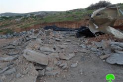 The Israeli Occupation Forces demolish cows farm and vegetables storage unit in Tubas