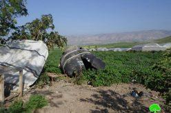للمرة الثانية خلال شهر شباط … الاحتلال يهدم خيام وبركسات زراعية في خربة الفارسية