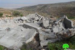 جيش الاحتلال الإسرائيلي يهدم ثلاثة منازل وجدران استنادية في خربة أم المراجم