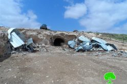 Israeli Occupation Forces demolish agricultural structure in Al-Tabban hamlet
