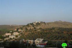 الاحتلال يصدر إخطاراً عسكرياً بتمديد سريان مصادرة 3 دونم من أراضي من قرية جالود بهدف شق طريق استيطاني