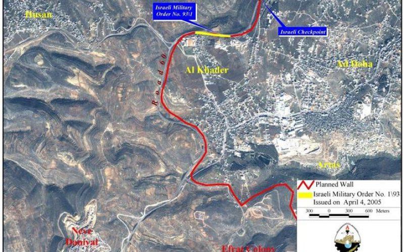 The Israeli Segregation Wall hits Al-Khader village lands