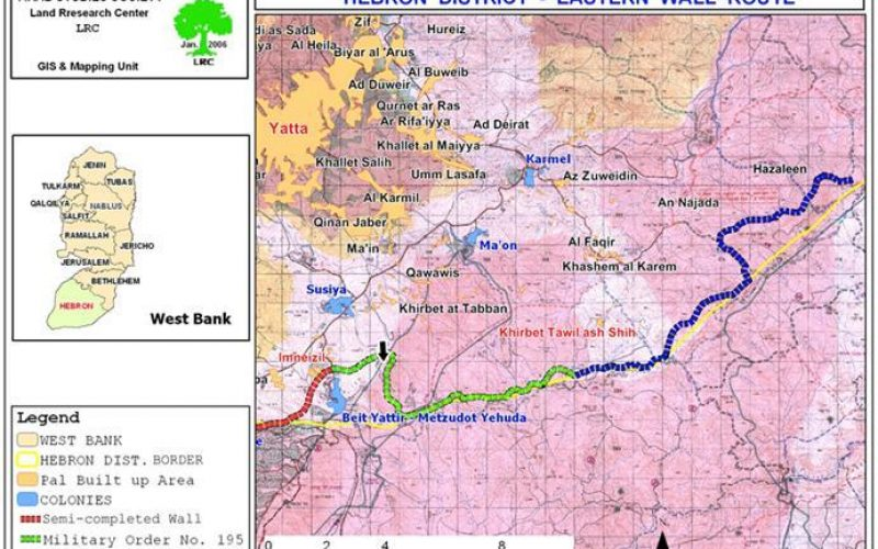 Eastern Wall route in Hebron Governorate defined by New military orders