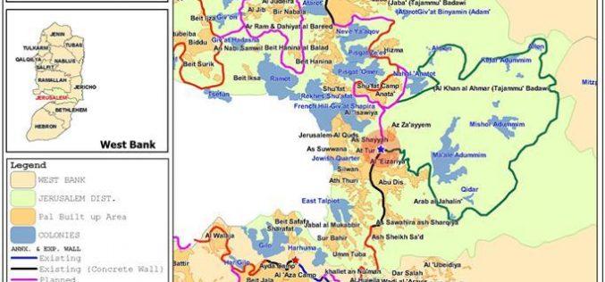 """الانتهاء من إقامة ممر حدودي إسرائيلي جديد في موقع """" راس أبو سبيتان"""" جنوب شرق القدس كبديل عن حاجز الزعيم على طريق اريحا – التلة الفرنسية"""