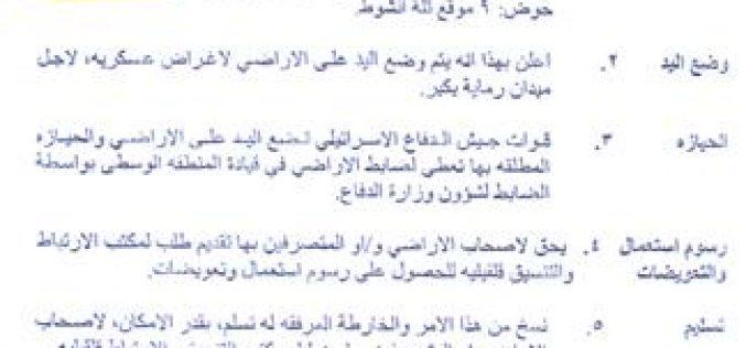New Land confiscation Order in Deir Istiya Village – Salfit Governorate