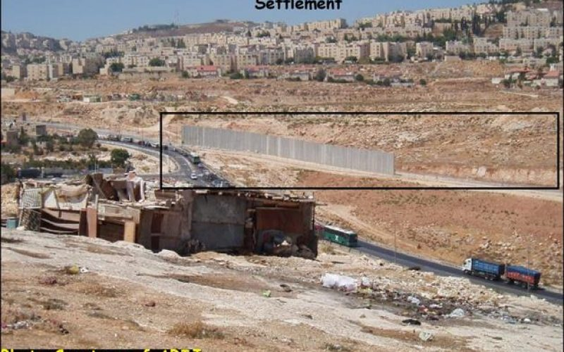 Hizma Village loses more than 60% of its lands for the construction of the Israeli Segregation Wall