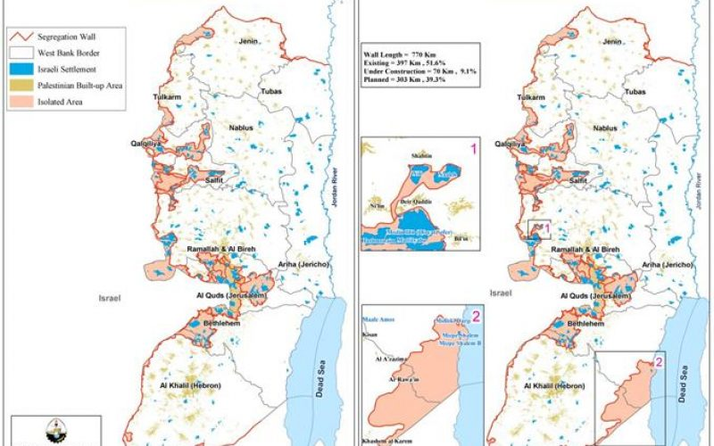 "According to the Israeli Ministry of Defense <br> "" The Israeli Army increases the Segregation Wall Length and thus the Segregated Zone area in the West Bank"""