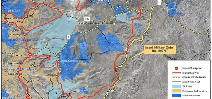 The Israeli Army to construct a new Road east of Ma'ale Adumim Settlement Bloc