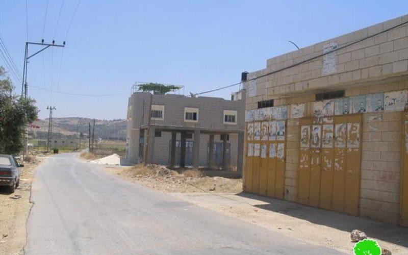 سلطات الاحتلال تنذر عدد من المنشآت في قرية نزلة عيسى بالهدم